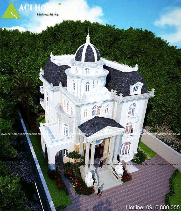 Biệt thự lâu đà cổ điển 3 tầng Pháp