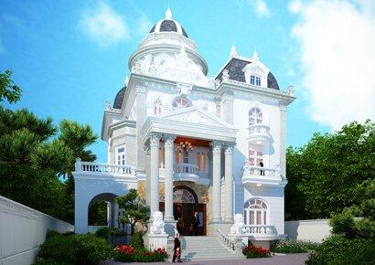 thiết kế biệt thự lâu đài kiểu Pháp 3 tầng