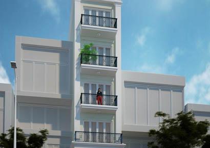 thiết kế nhà phố kiểu pháp 5 tầng