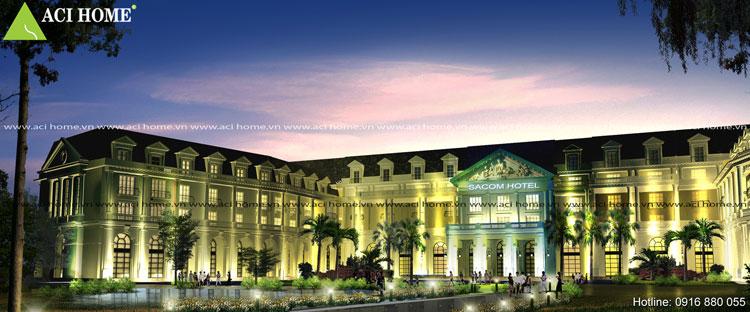 khách sạn tân cổ kiến trúc Pháp