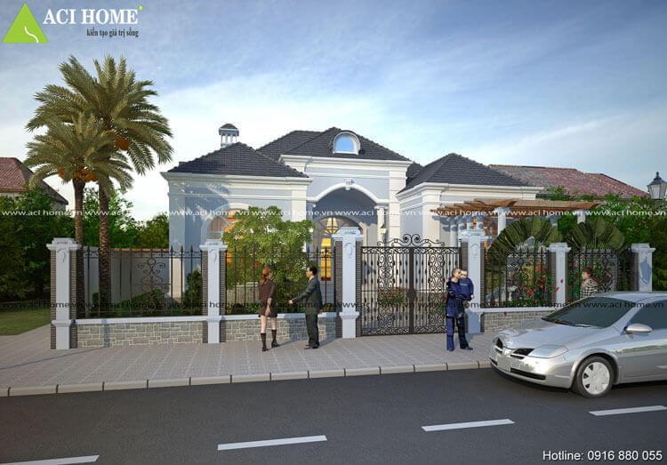 góc nhì bên trái mẫu thiết kế biệt thự nhà vườn 1 tầng