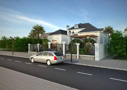 thiết kế biệt thự nhà vườn 1 tầng kiến trúc Pháp