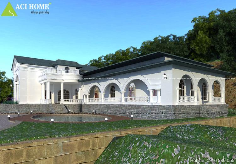 thiết kế biệt thự tân cổ điển 1 tầng