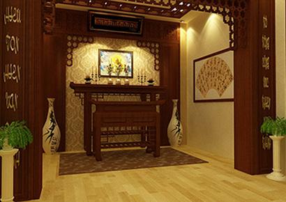 thiết kế nội thất phòng thờ theo phong cách Á Đông