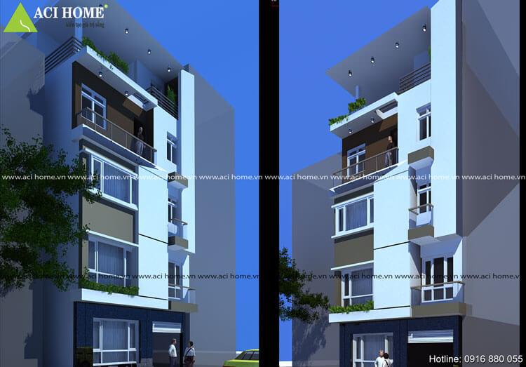 thiết kế thi công xây dựng căn nhà phố hiện đại 6 tầng tại Kim mã
