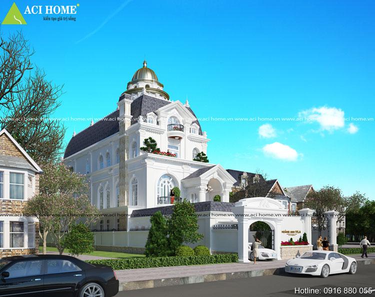Mẫu thiết kế biệt thự kiểu Pháp cổ điển