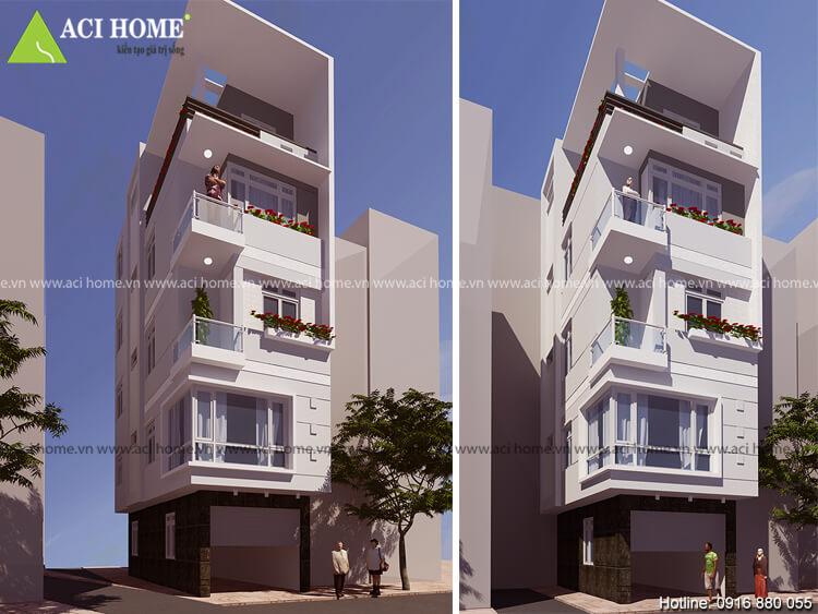 hình ảnh góc nhìn tổng thể thiết kế nhà phố hiện đại