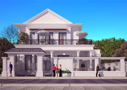 thiết kế biệt thự kiểu pháp 2 tầng tại Hà Huy Tập Hà Tĩnh