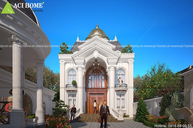 Nét đẹp duyên dáng và quyến rũ từ view nhìn cận cảnh chính diện của công trình kiến trúc kiểu Pháp 2,5 tầng tại Hòa Bình