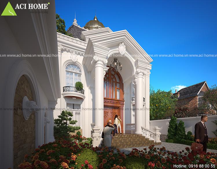 Nét đẹp của thẩm mỹ khi thiên nhiên được sử dụng để tôn tạo nên nét đẹp hoàn hảo của công trình biệt thự