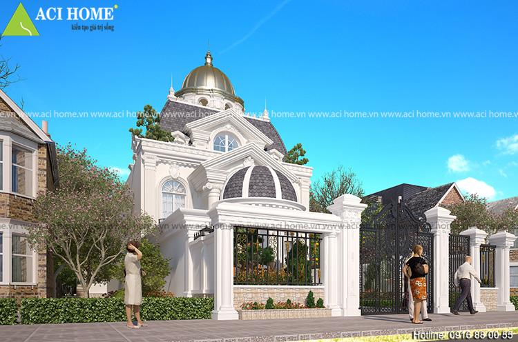 Sự hoàn mỹ trong từng góc cạnh của công trình kiến trúc kiểu Pháp 2,5 tầng tại Hòa Bình