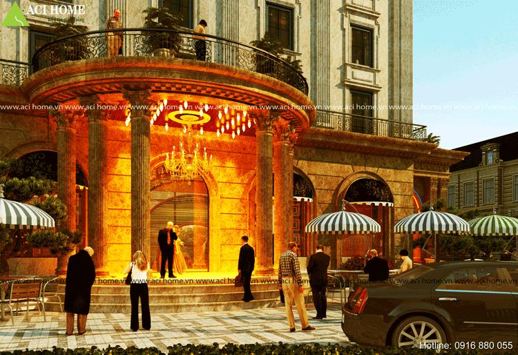 Mặt tiền khách sạn được thiết kế với hình tròn