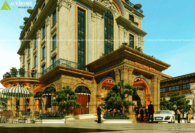Khách sạn được thiết kế với 2 mặt tiền 2 tiền sảnh