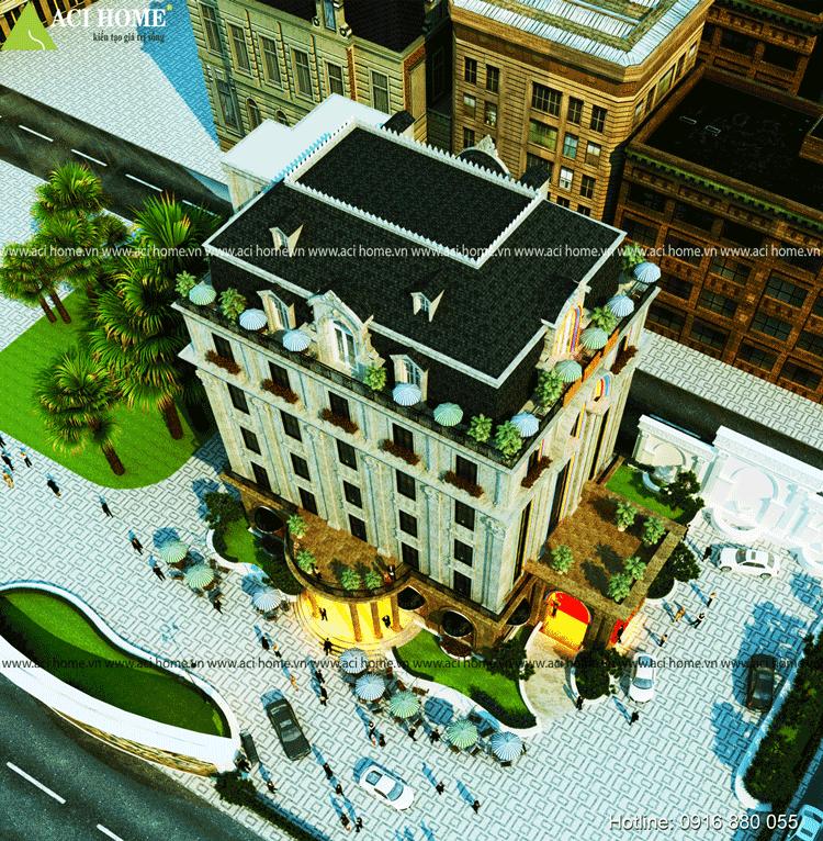 sử dựng hệ thức mái Mansard làm Mái cho Khách Sạn