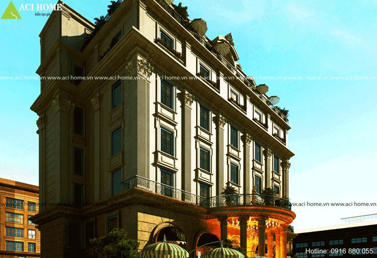 Mặt tiền khách sạn nhìn thẳng ra khu trung tâm thương mại