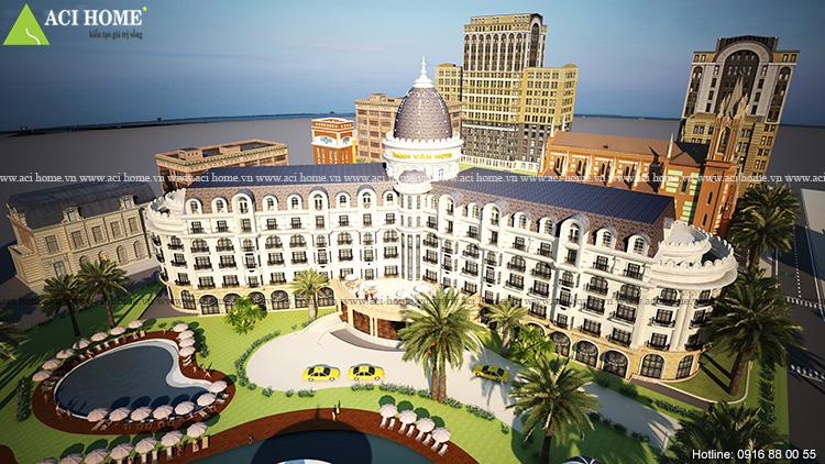 Góc nhìn tổng quan mẫu thiết kế khách sạn Hải Tiến