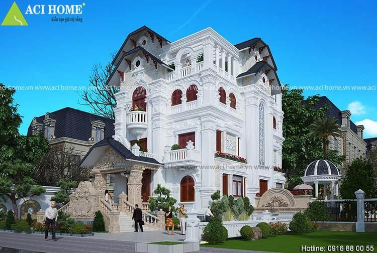 góc nhìn tổng thể mẫu thiết kế biệt thự kiểu Pháp tại Tuyên Quang