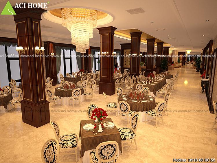 Phòng tổ chức sự kiện được thiết kế rộng lớn và sang trọng