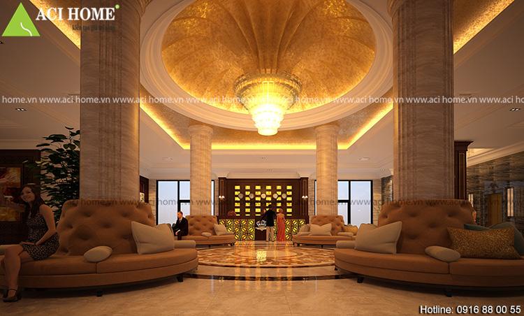 thiết kế nội thất khách sạn ấn tượng bởi đèn chùnm