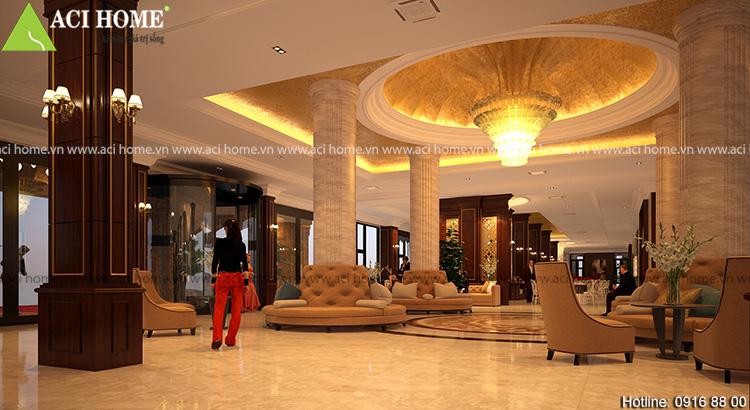 Mặt sàn được thiết kế với chất liệu đá sang trọng