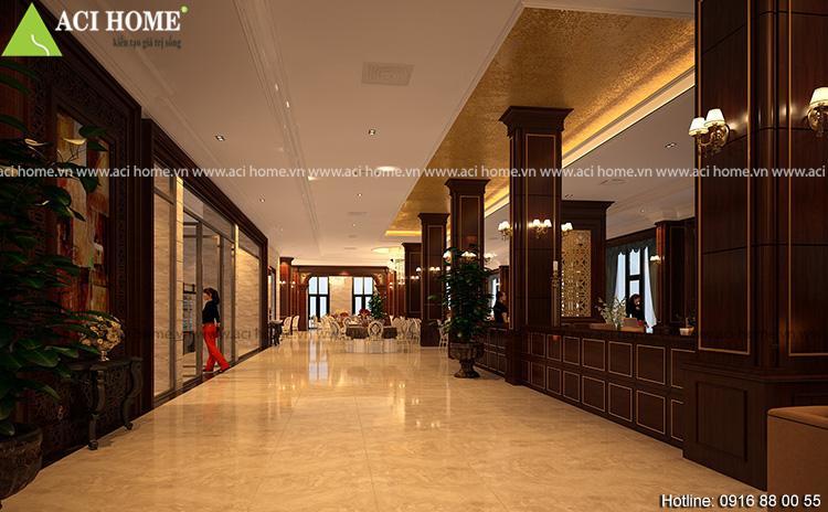 Thiết kế hàng lang không gian phía ngoài phòng tổ chức sự kiện