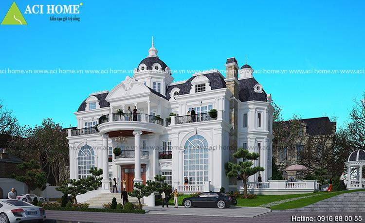 Thiết kế biệt thự kiểu Pháp 3 tầng tại Bắc Ninh