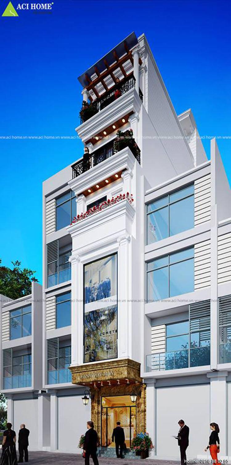 thiết kế nhà phố kinh doanh 7 tầng