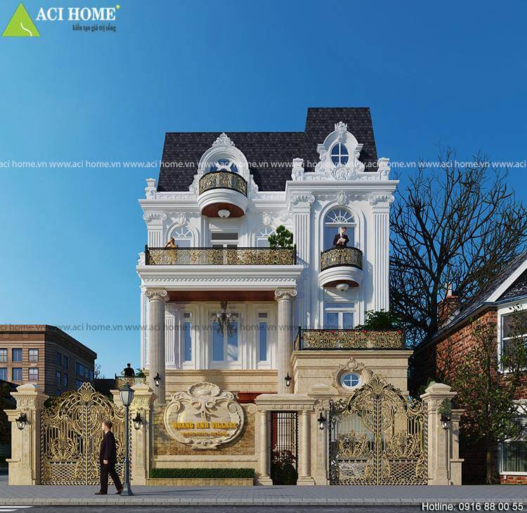 Thiết kế biệt thự kiểu Pháp với mặt tiền 10m