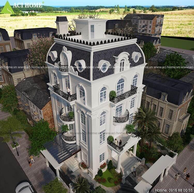 Mẫu thiết kế biệt thự kiểu Pháp