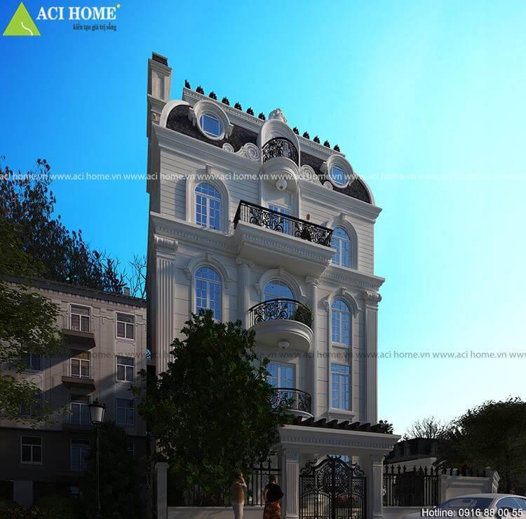 Biệt thự kiểu Pháp với view tiểu cảnh