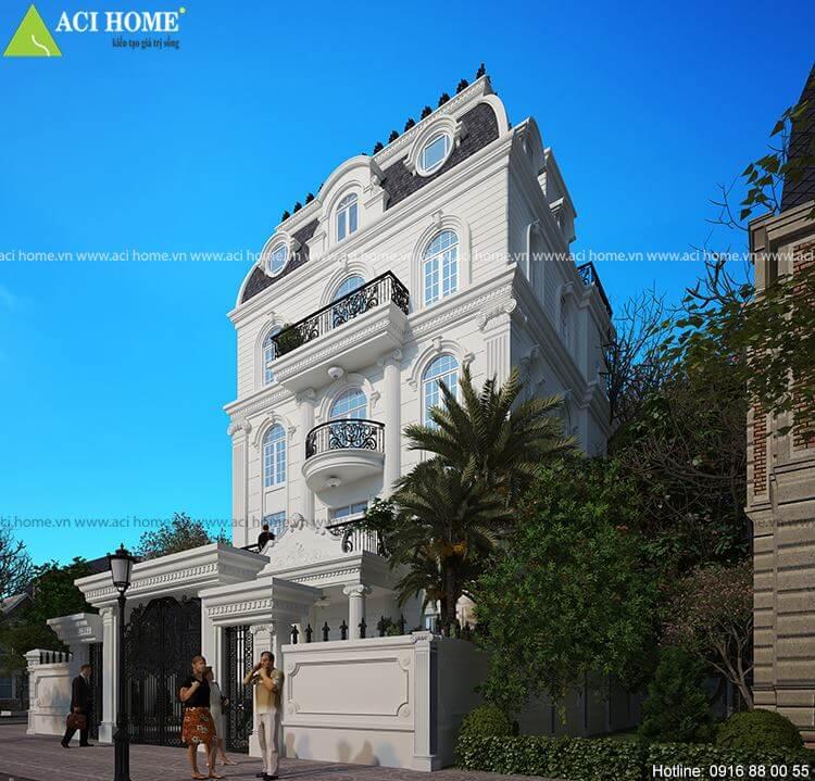 Góc nhìn tiểu cảnh căn biệt thự kiểu Pháp với không gian phía ngoài