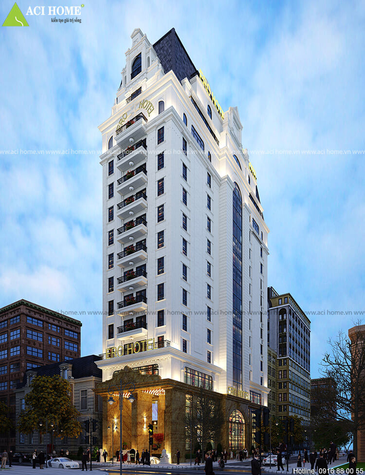Góc nhìn tổng thể mẫu thiết kế khách sạn kiểu Pháp