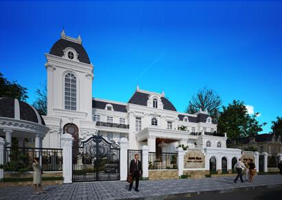 thiết kế biệt thự kiểu Pháp siêu dinh thự 2 tầng