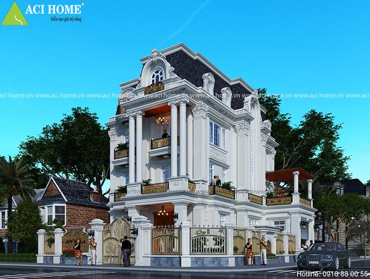 Mẫu thiết kế biệt thự kiểu Pháp 3 tầng tại Bảo Lộc Lâm Đồng