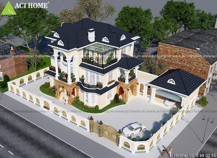 góc nhìn tổng quát mẫu thiết kế biệt thự tân cổ điển từ phía trên