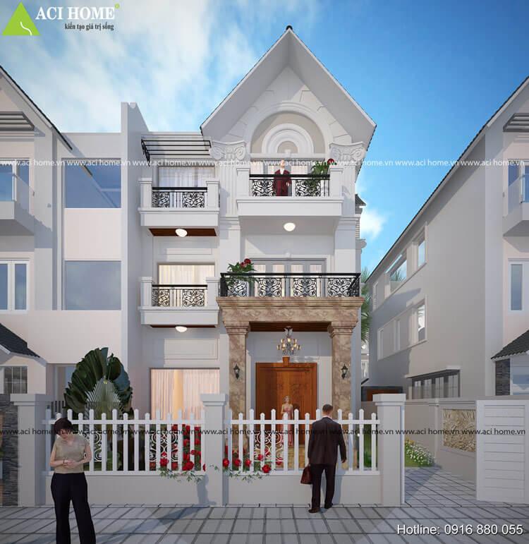 mẫu thiết kế biệt thự tân cổ điển tại khu đô thị Việt Hưng Long Biên