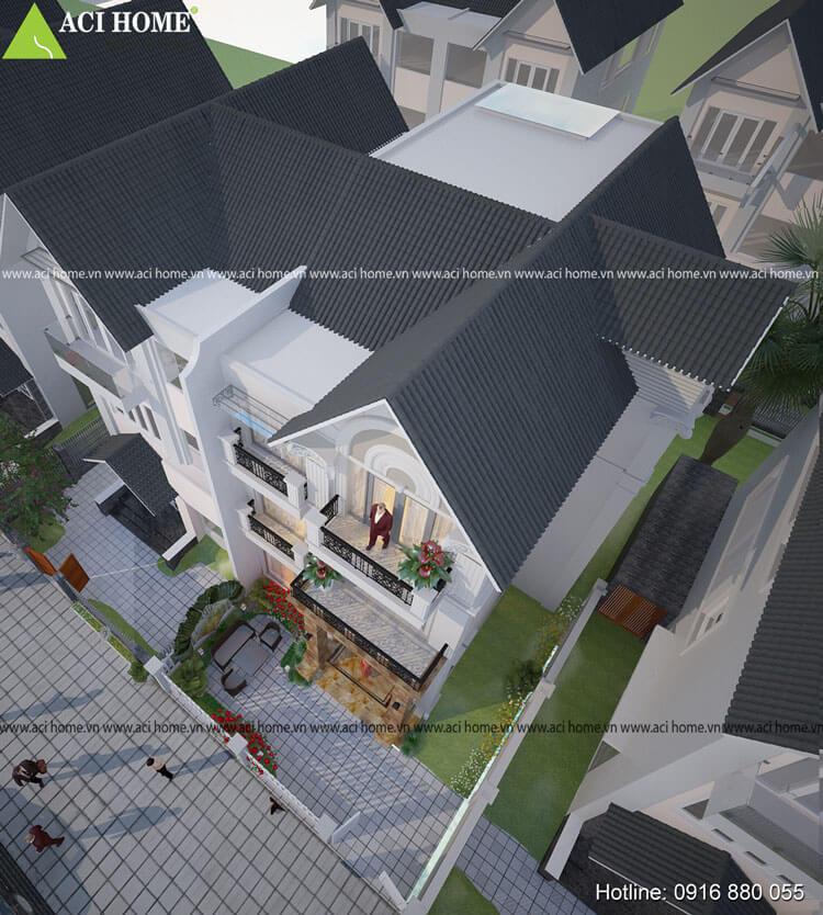 góc nhìn tổng quát mẫu thiết kế biệt thự tân cổ điển tại Long Biên Hà Nội