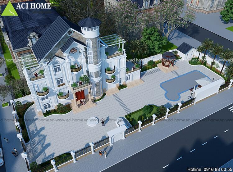 góc nhìn tổng thể mẫu thiết kế biệt thự tân cổ điển từ phía trên cao