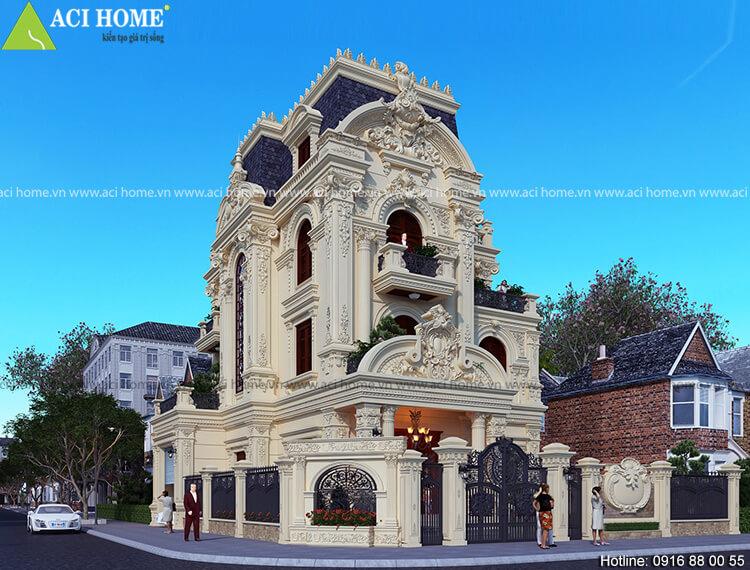 Mẫu thiết kế biệt thự kiểu Pháp tại Ha Nam 3 tầng