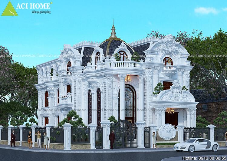 mẫu thiết kế biệt thự kiểu Pháp 3,5 tầng tại thành phố Bình Dương