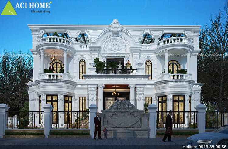 Góc nhìn tổng quát mẫu thiết kế biệt thự kiểu Pháp 2,5 tầng