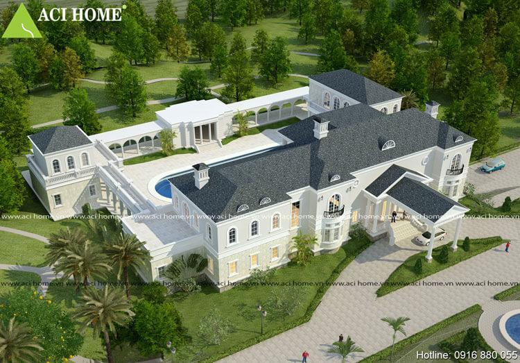 thiết kế biệt thự kiểu Pháp view từ phía trên