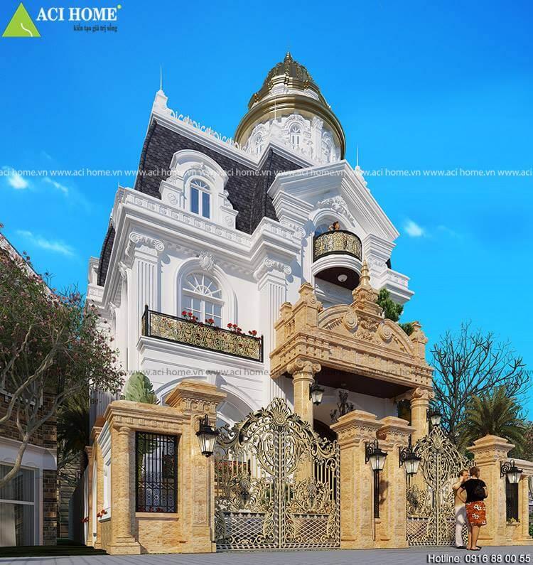 góc nhìn tổng quát mẫu thiết kế biệt thự kiểu Pháp tại Yên Bái