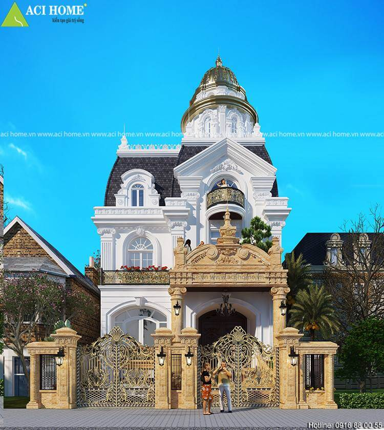 góc nhìn trực diện căn biệt thự kiểu Pháp tại Yên Bái