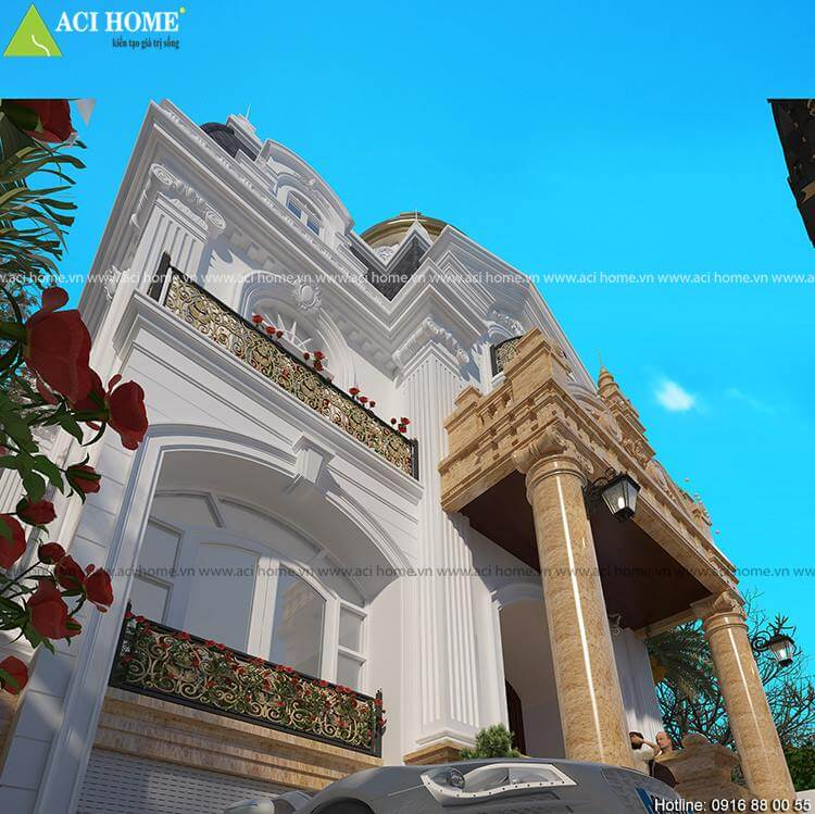 Góc nhìn tiểu cảnh căn biệt thự kiểu Pháp