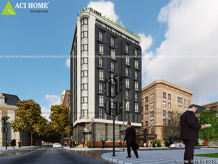 View tổng quan mẫu thiết kế khách sạn hiện đại