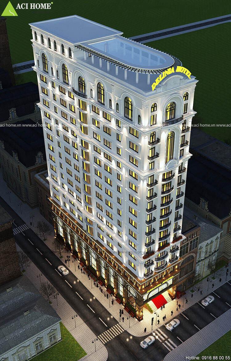 Góc nhìn tổng quát mẫu thiết kế khách sạn 3 sao kiến trúc Pháp