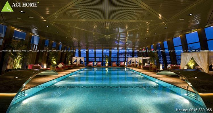 thiết kế khách sạn với bể bơi sang trọng