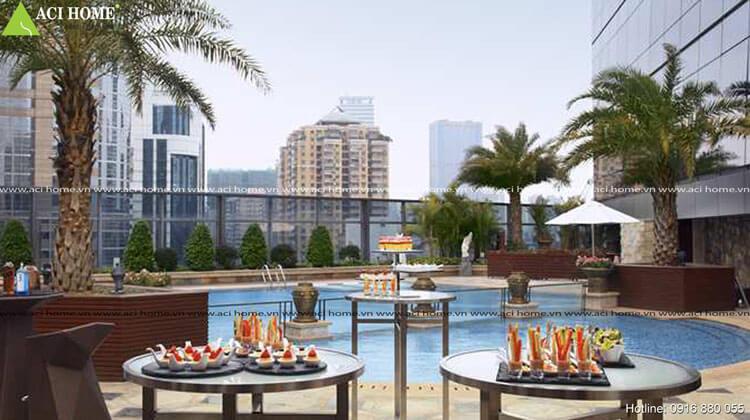 thiết kế khách sạn với hồ bơi