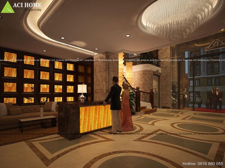 Thiết kế quầy tiếp tân tại khách sạn Hà Tĩnh